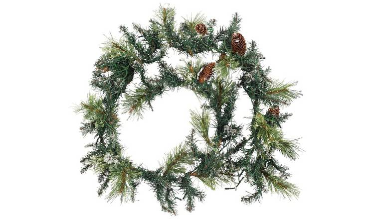 Buy Argos Home 182cm Pre Lit Snow Tipped Christmas Garland Christmas Wreaths And Garlands Argos