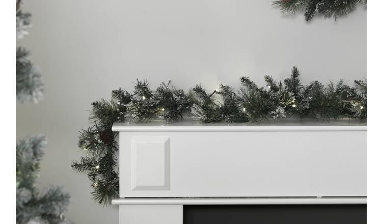 Christmas Garlands.Buy Argos Home 182cm Pre Lit Snow Tipped Christmas Garland Christmas Wreaths And Garlands Argos
