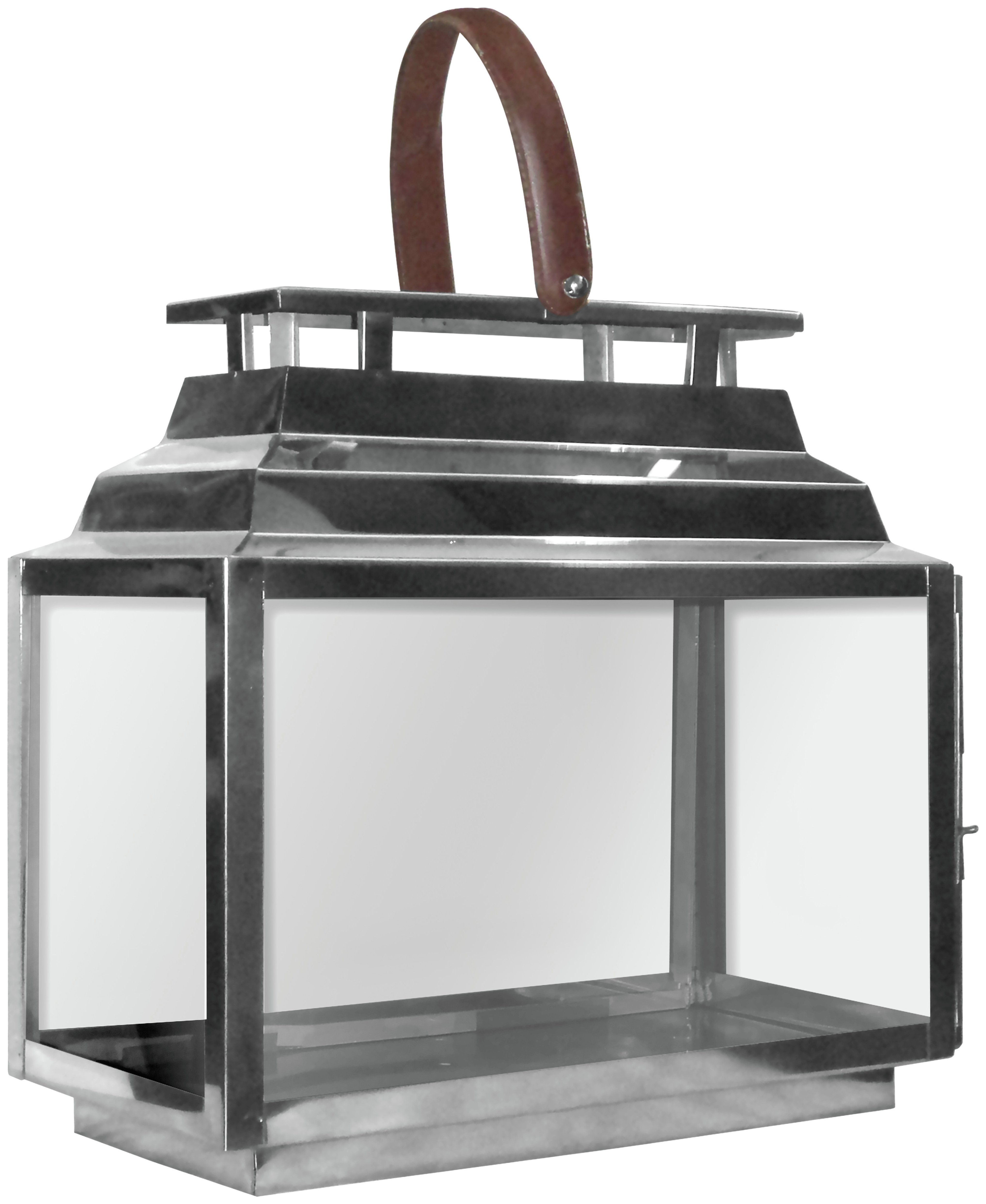 Premier Housewares Complements Leather Effect Glass Lantern. lowest price