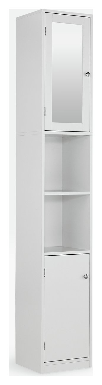 buy home mirrored tall bathroom cabinet - white at argos.co.uk