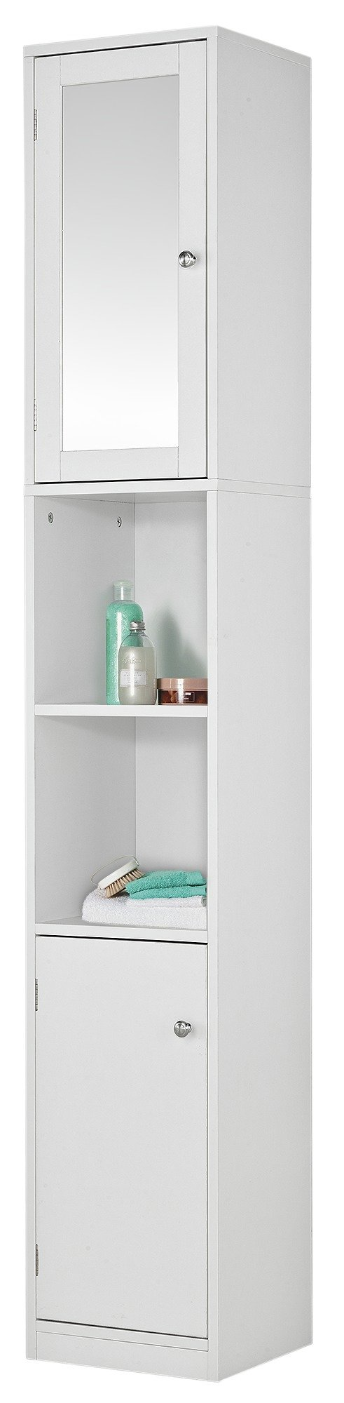 Tall Bathroom Cabinets buy home mirrored tall bathroom cabinet - white at argos.co.uk