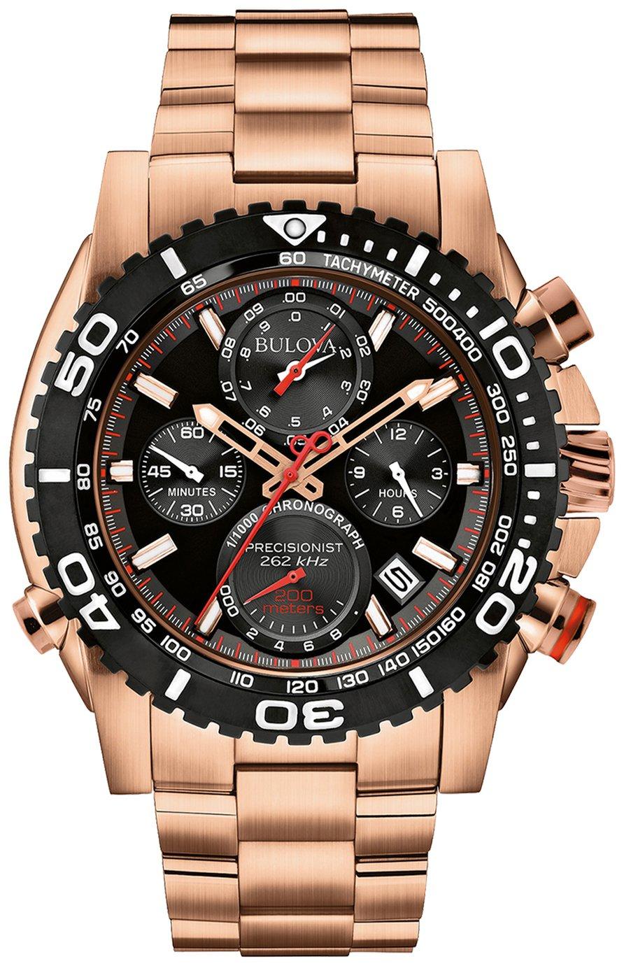 Bulova Men's Rose Gold Stainless Steel Chronograph Watch