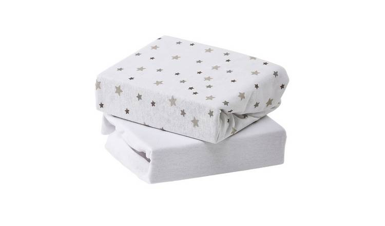Baby Elegance Cot Size 2 Pack Jersey Sheets - Grey Star
