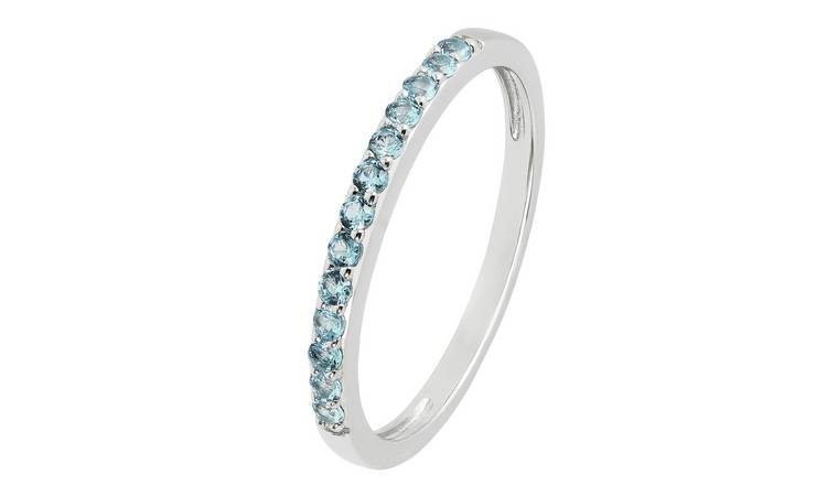 Revere Sterling Silver Blue Cubic Zirconia Stack Ring - L