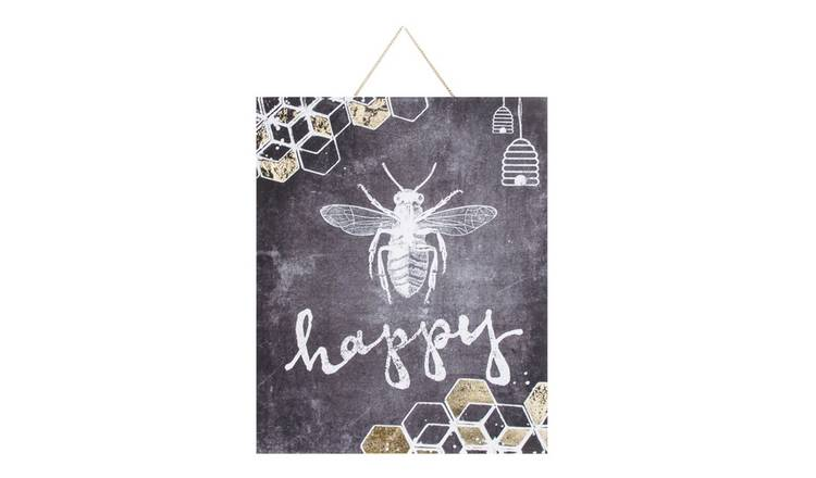 Art for the Home Bee Happy Printed Canvas Wall Art