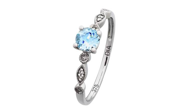 Revere 9ct White Gold Aqua & Diamond Accent Vintage Ring - H