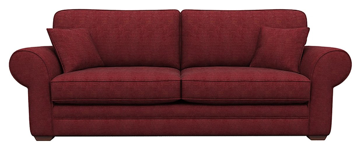 Heart of House Chedworth 4 Seater Fabric Sofa - Wine.