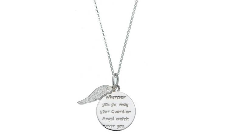 cf3a7f89f8d76 Buy Moon & Back Silver Guardian Angel Pendant 18 Inch Necklace | Womens  necklaces | Argos