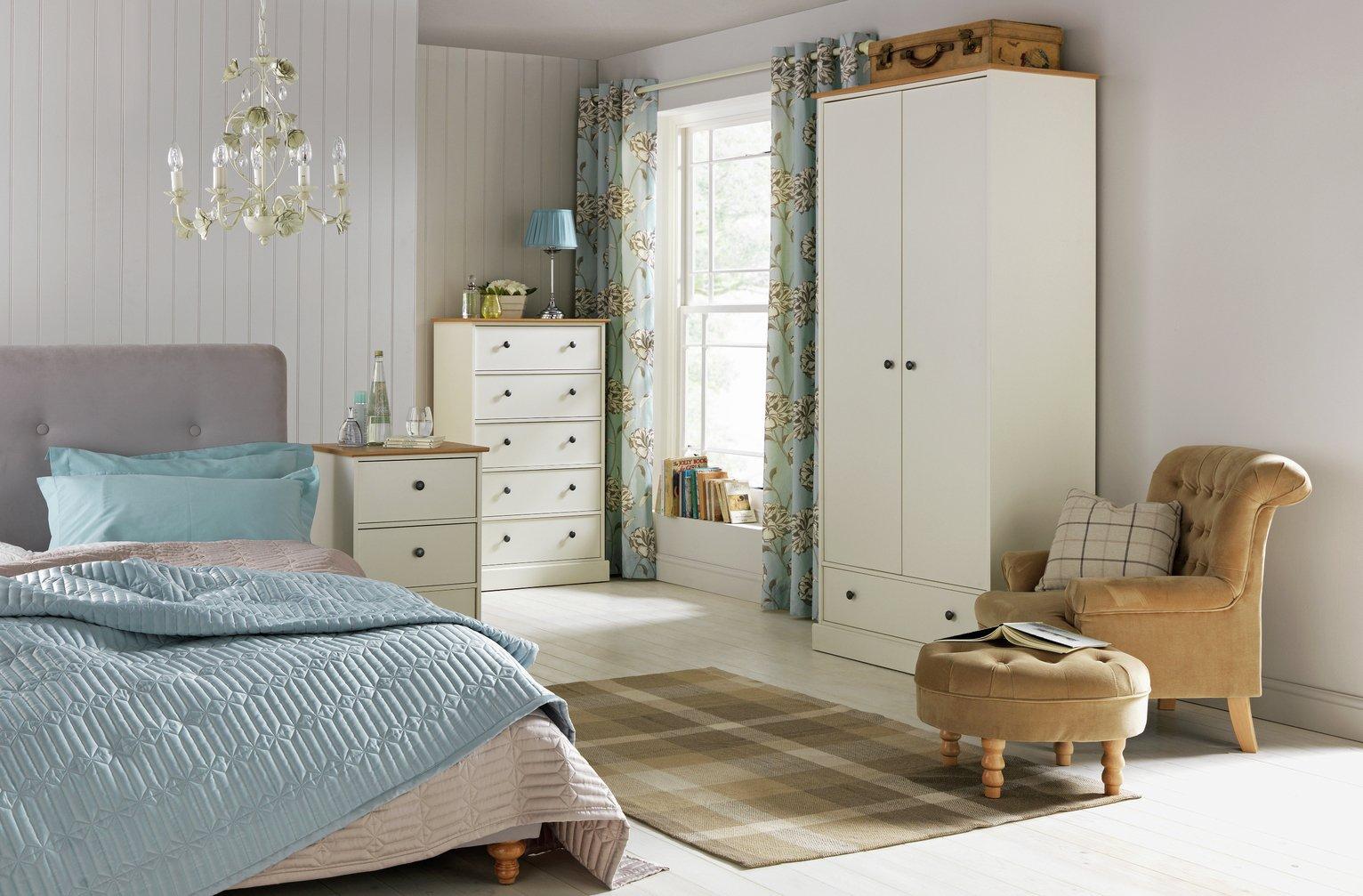 buy collection kensington 2 dr 1 drw wardrobe - oak effect/ivory