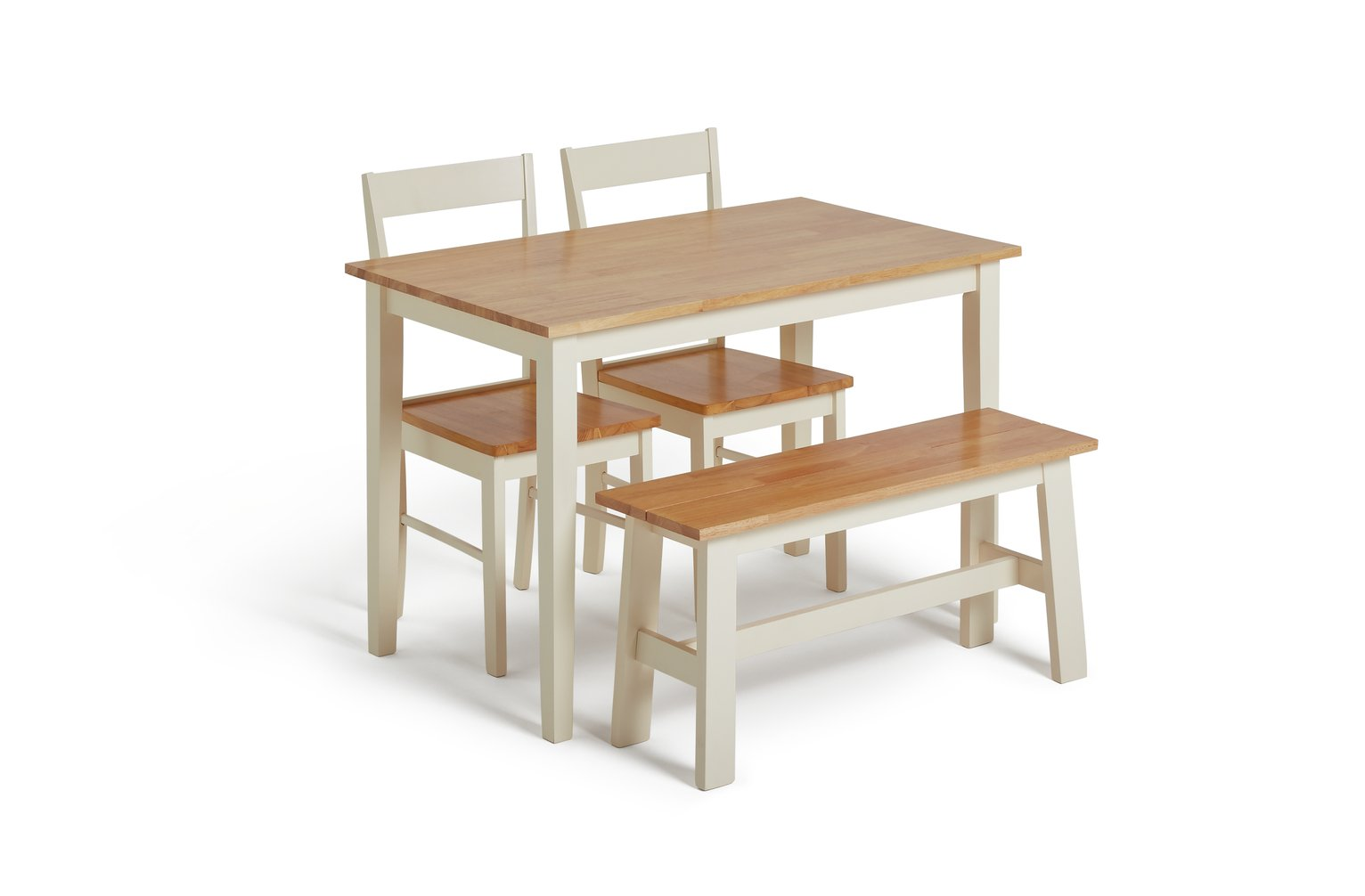 Argos Home Chicago Solid Wood Table, 2 Chairs & Bench