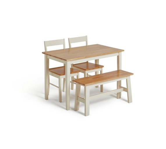 Collection Chicago Solid Wood Table Bench 2 Chairs