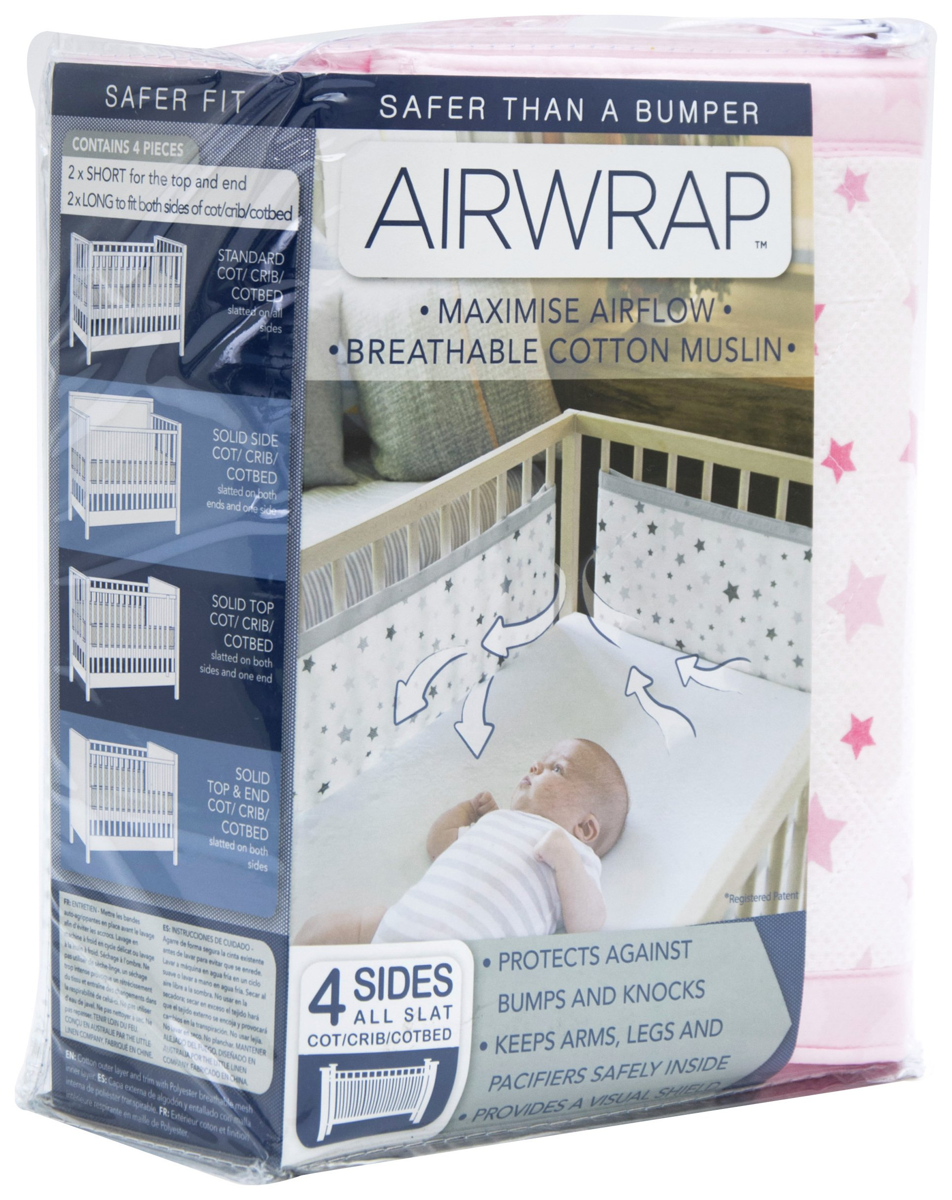 Image of Airwrap - Printed 4 Sided - Cot Bumper - Pink Stars