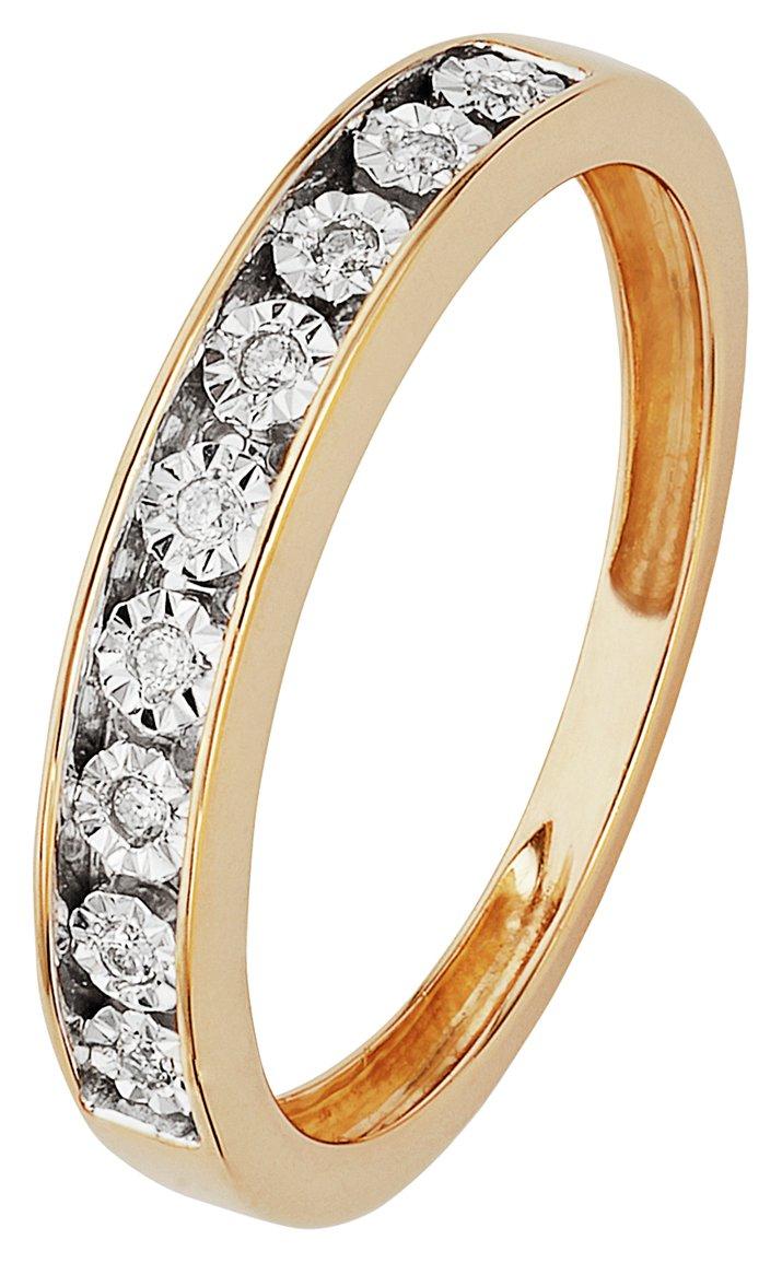 Miracle Sparkle - 9 Carat 2 Coloured Gold Diamond - Half Et Ring