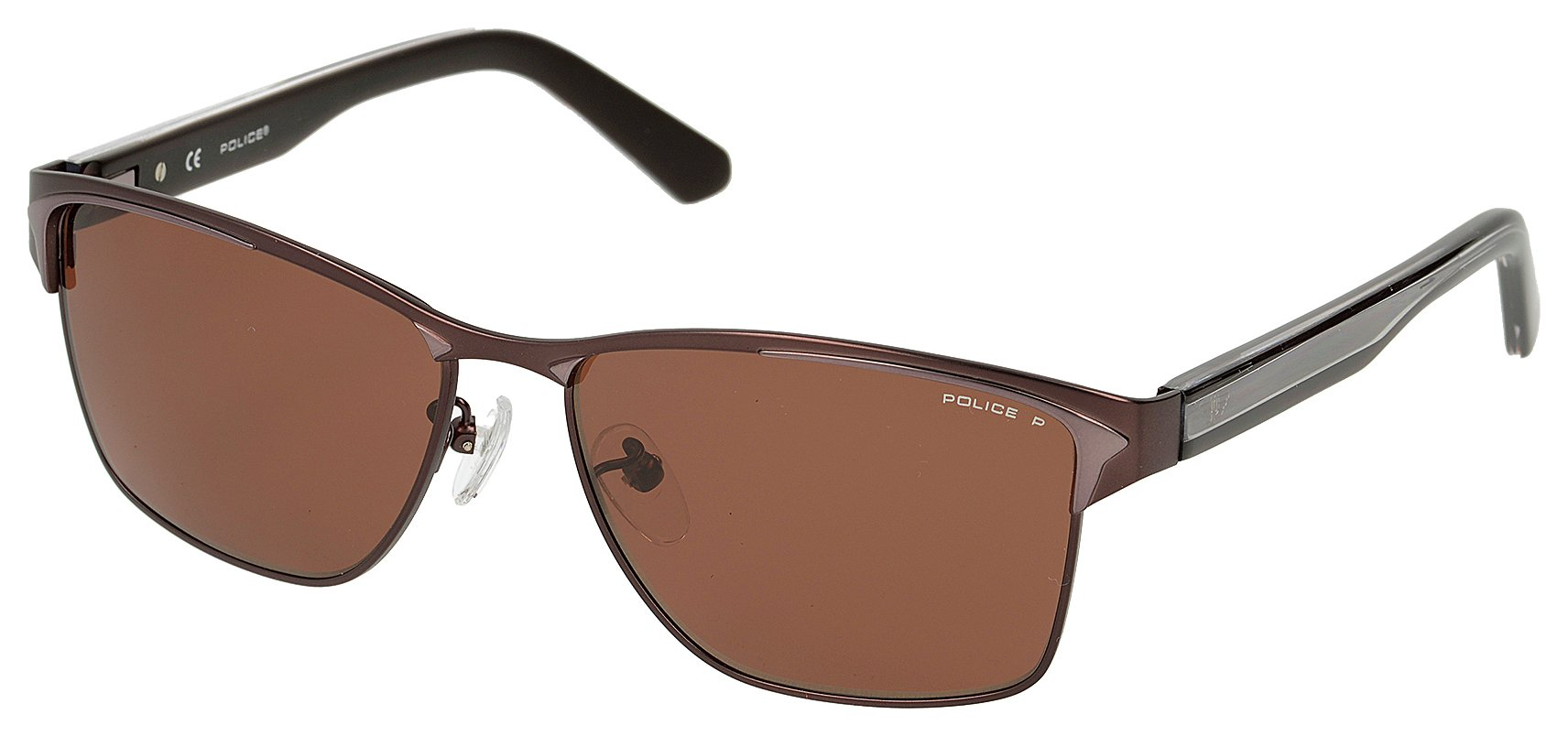 Image of Police Dark Brown Half Rim effect with Brown Polarised Lens.