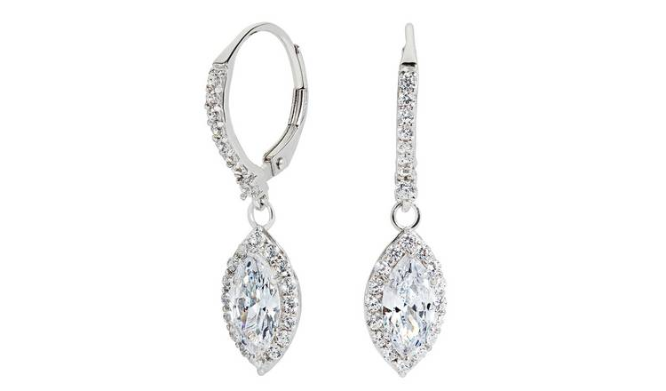 Revere Sterling Silver Cubic Zirconia Marquise Halo Earrings
