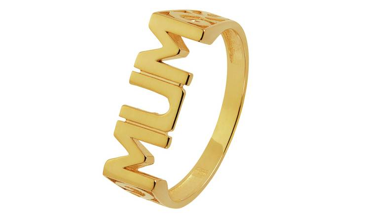 Moon & Back 9ct Gold Plated Stainless Steel Mum Ring - Q