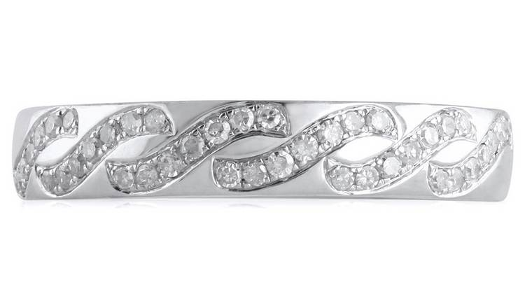 Revere 9ct White Gold 0.18ct tw Diamond Wave Band Ring - I