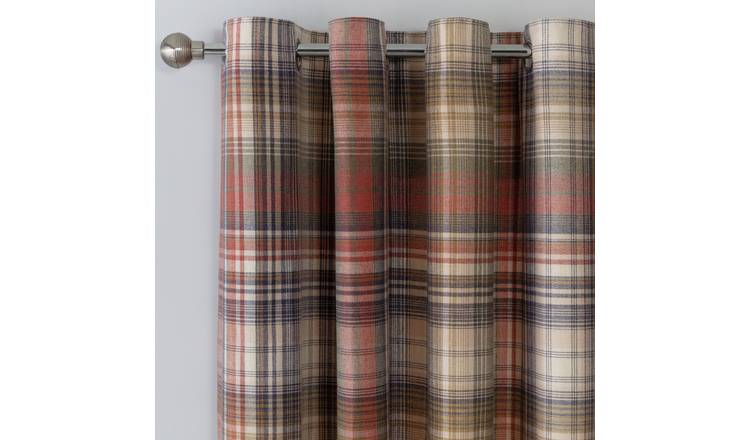 Argos Home Brushed Check Lined Eyelet Curtains - Multi