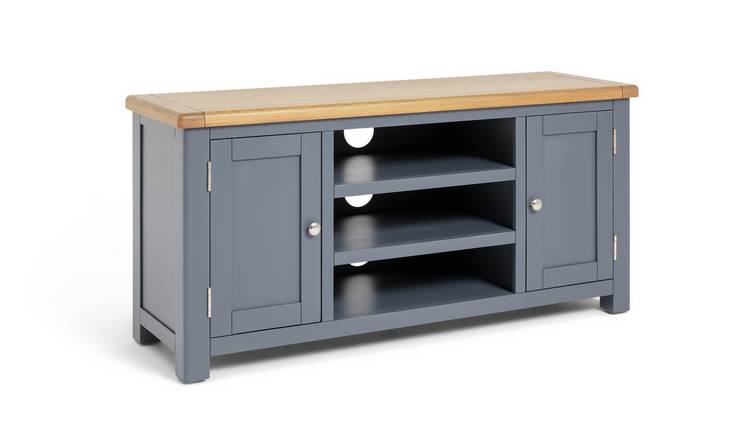 Argos Home Kent 2 Door Oak & Oak Veneer Low TV Unit - Grey