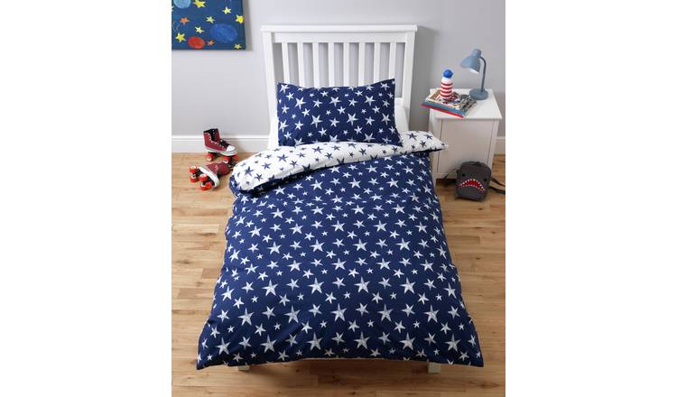Argos Home Navy & White Reversible Star Bedding Set- Toddler