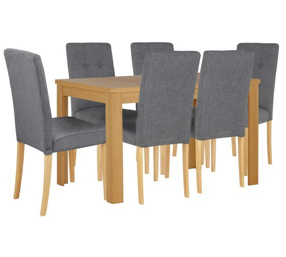 Collection Adaline Ext Oak Effect Table   6 Chairs   GreyBuy Collection Adaline Ext Oak Effect Table   6 Chairs   Grey at  . Adaline Walnut Extendable Dining Table And 6 Chairs. Home Design Ideas