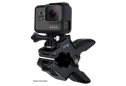 Cut out image of a GoPro Jaws flex clamp mount.