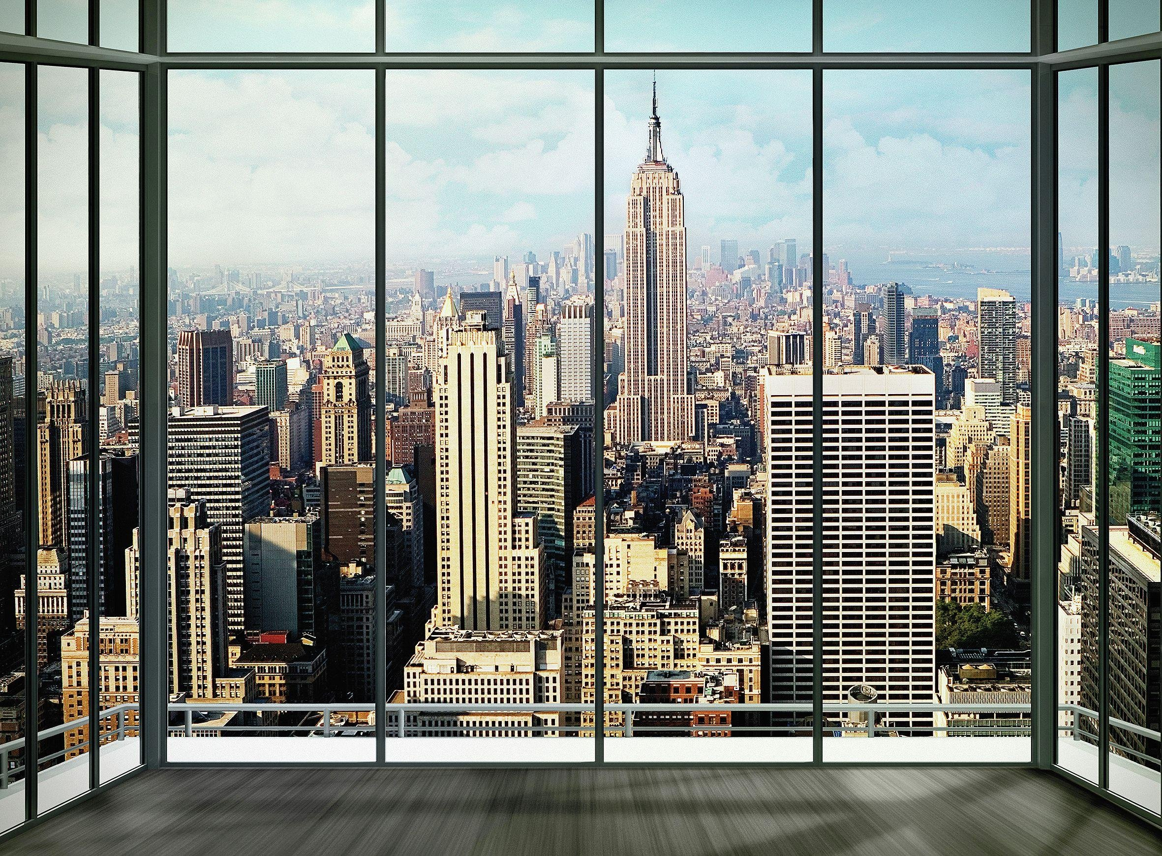 1wall  city window  wall mural