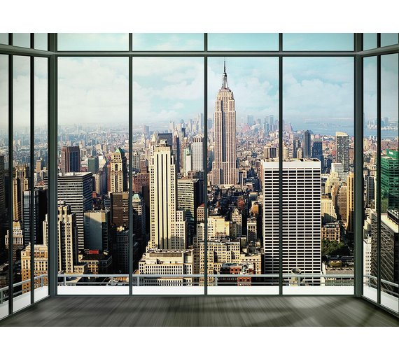 buy 1wall city window wall mural murals and wall stickers argos