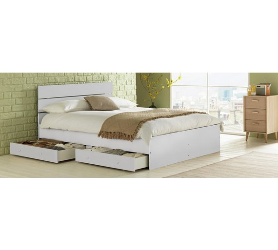 Buy HOME Bedford Double 4 Drawers Bed Frame - White   Bed frames   Argos