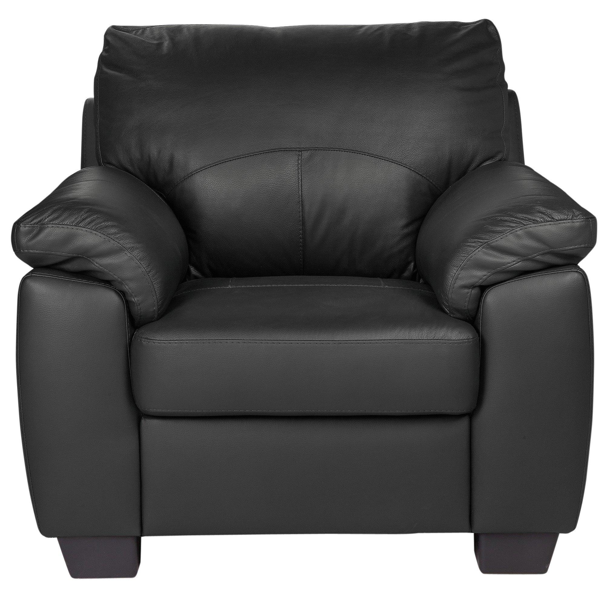 Argos Home Logan Leather Mix Armchair - Black