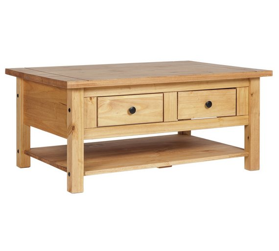 Buy Home San Diego 2 Drawers 1 Shelf Coffee Table Pine At Your Online Shop For