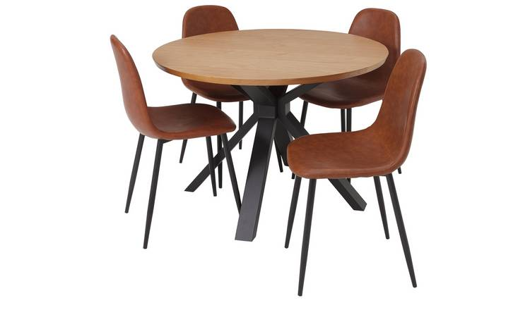 Argos Home Loft Living Wood Veneer Table & 4 Tan Chairs