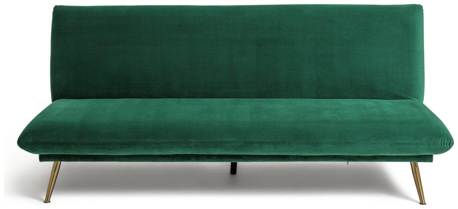Habitat Matteo 2 Seater Velvet Sofa Bed - Green