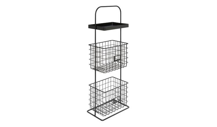 Argos Home Free Standing 2 Tier Wire Unit - Matt Black