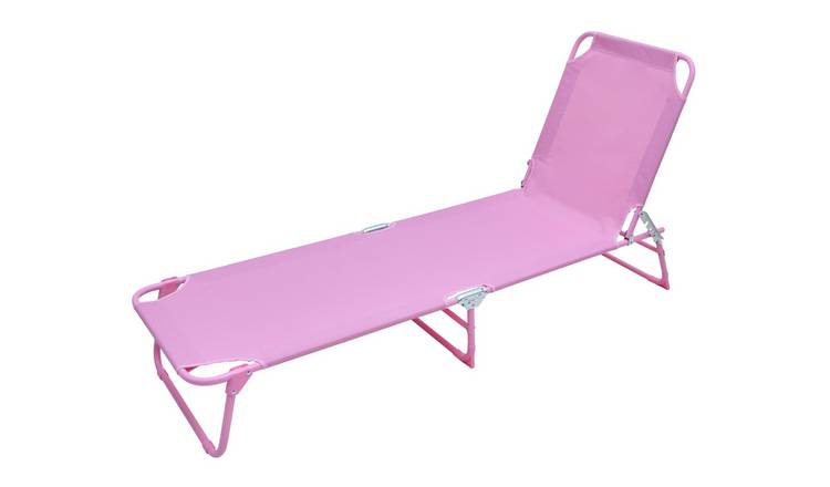 Argos Home Metal Folding Sun Lounger - Pink 0