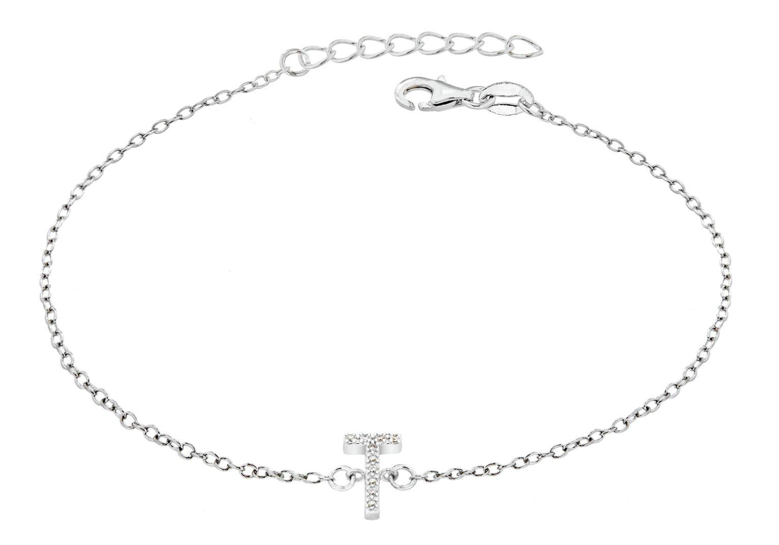 Sterling Silver Cubic Zirconia Initial Bracelet - T