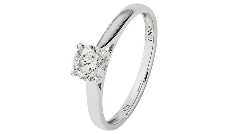 Revere 9ct White Gold 0.50ct  Diamond Solitaire Ring - T