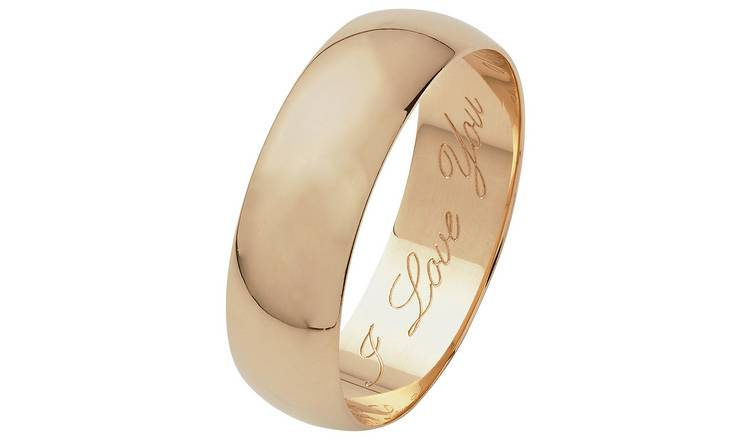 Revere 9ct Gold D-Shape Wedding Ring with High Dome - M