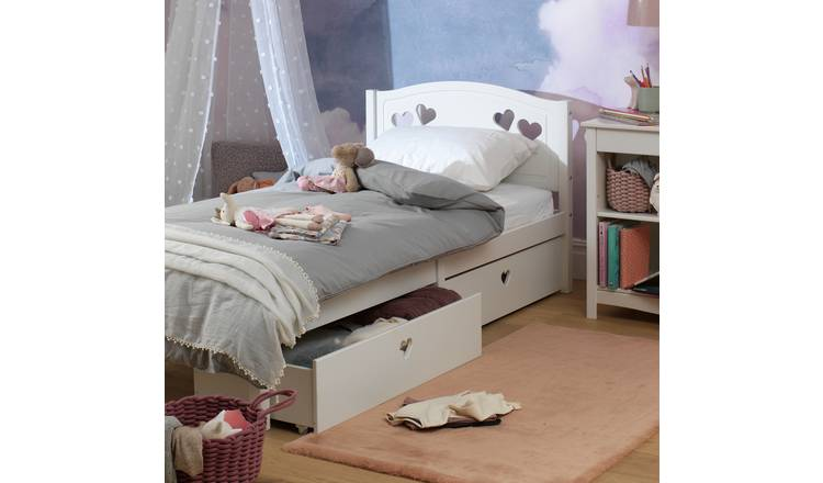 Argos Home Mia Single Bed Frame with 2 Drawers - White