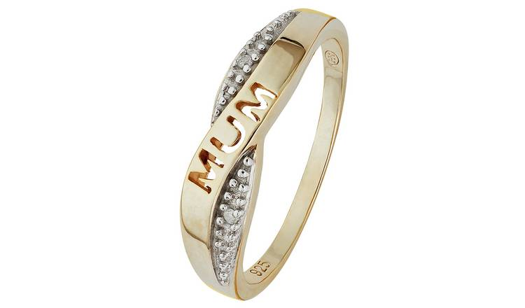 Moon & Back 9ct Gold Plated Diamond Accent Mum Ring - SizeN