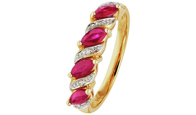 Revere 9ct Gold Ruby and 0.25ct Diamond Eternity Ring - U