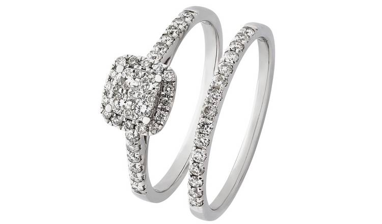 Revere 9ct White Gold 0.50ct tw Diamond Bridal Ring Set - T