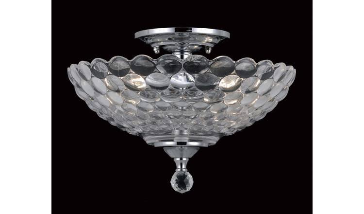 Buy Dallas Glass 2 Bulb Semi Flush Light Fitting Chrome Ceiling Lights Argos