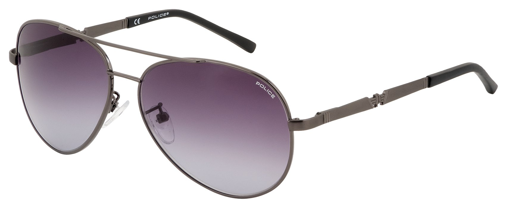 Image of Police Gun Metal Aviator with Purple Gradient Lens.