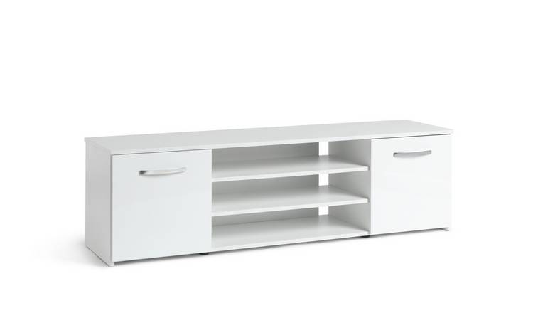 Habitat Hayward 2 Door Wide TV Unit - White Gloss