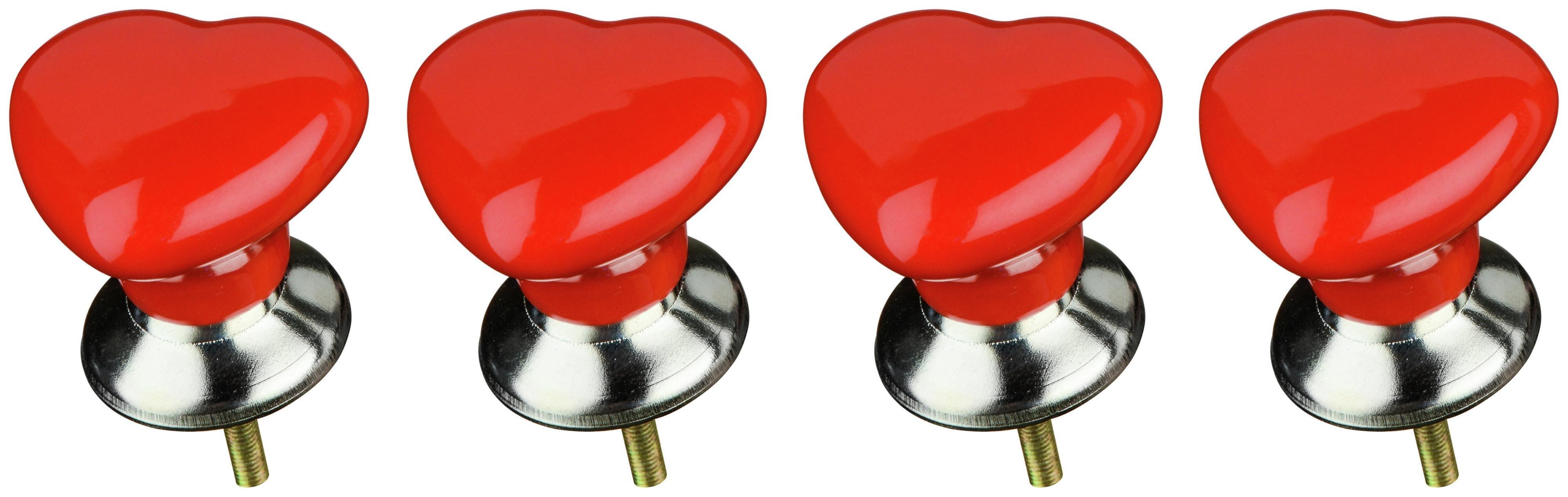Premier Housewares Set of 4 Red Ceramic Heart Drawer Knobs