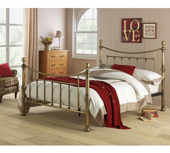Buy Heart of House Mason Double Bed Frame - Antique Brass | Bed ...