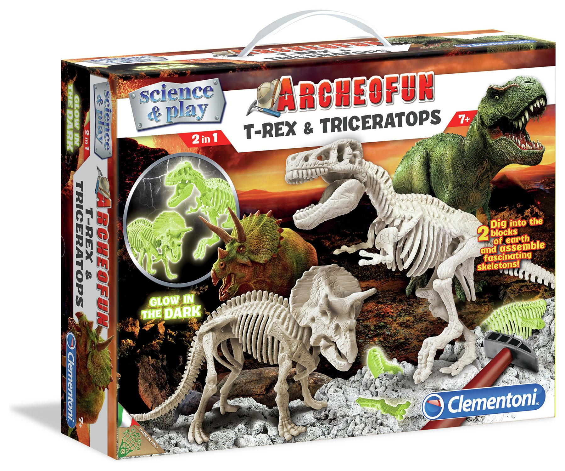 Image of Clementoni Archeofun - T-Rex & Triceratops Glow