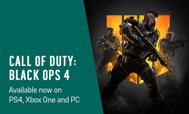 Call of Duty: Black Ops 4 available now on PS4, Xbox One and PC.