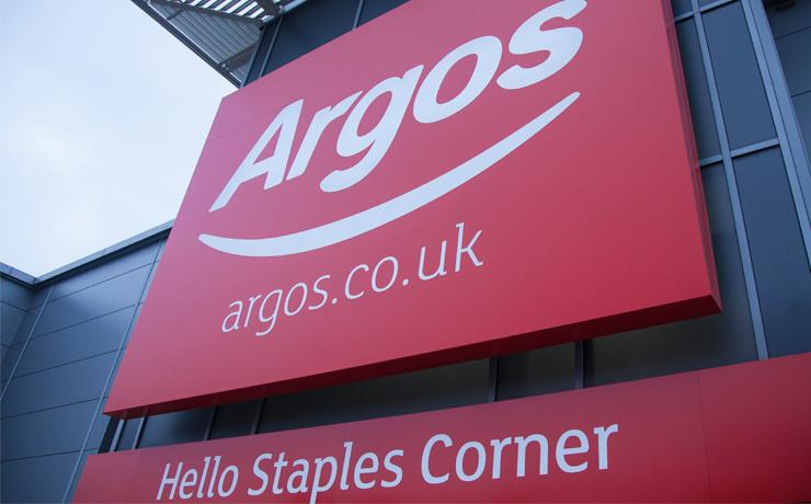 A close up image of the Argos sign outside a store.
